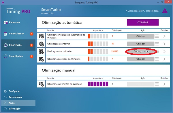 desfragmentar unidades do Windows com Steganos Tuning PRO