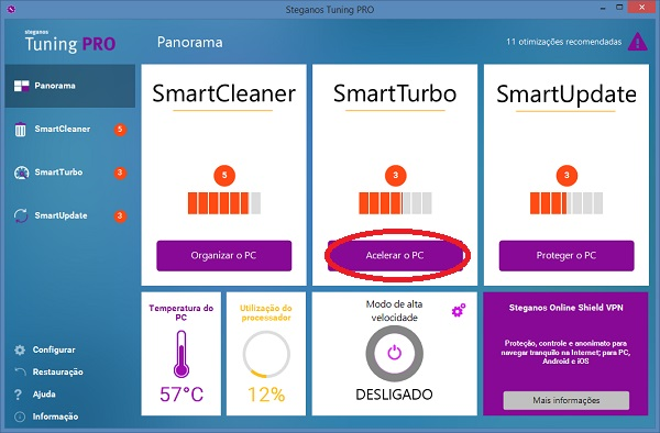 otimizar as definições do Windows com SmartTurbo
