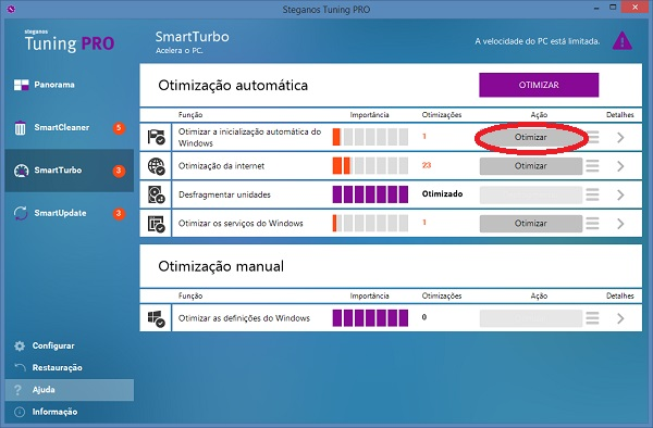 otimizar inicialização do Windows com Steganos Tuning PRO