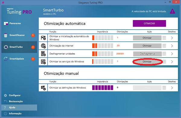 como otimizar o Windows com Steganos Tuning PRO