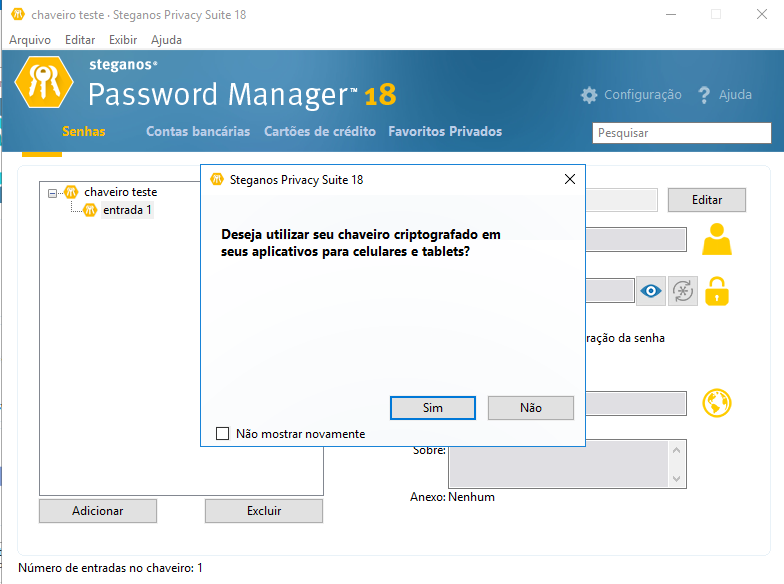 usando app password manager