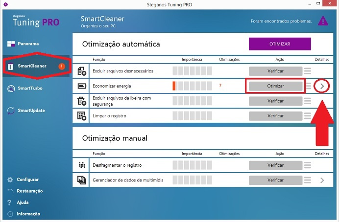 gerencie a energia com o smartcleaner do tuning pro